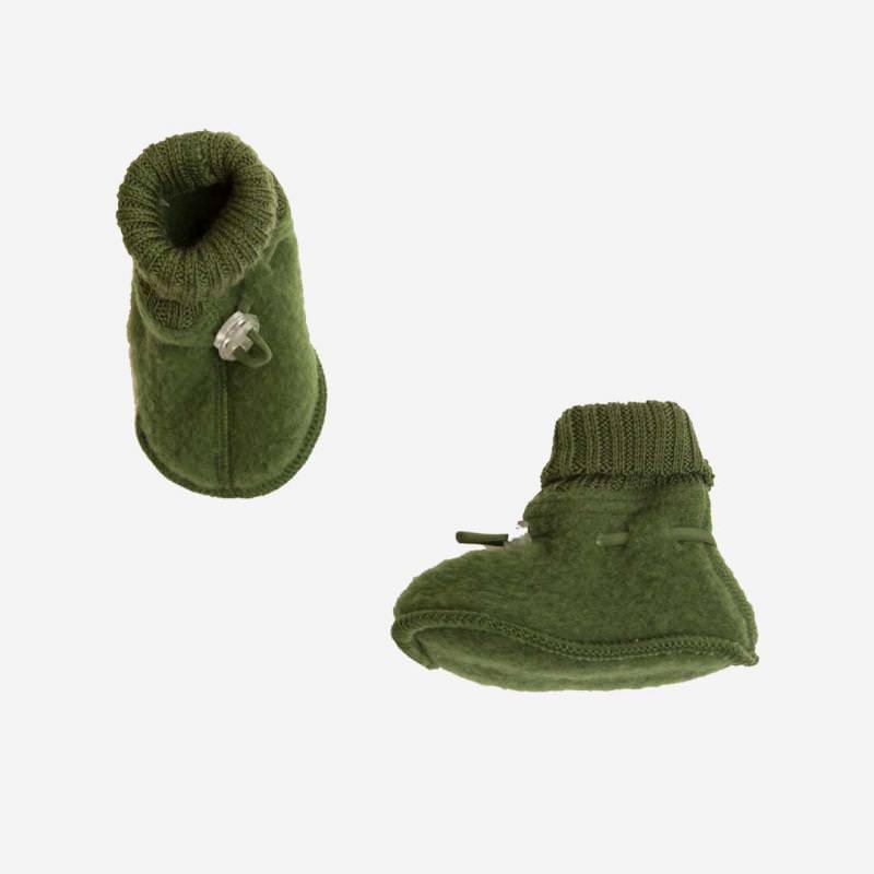 Schühchen Wollfleece flaschengrün