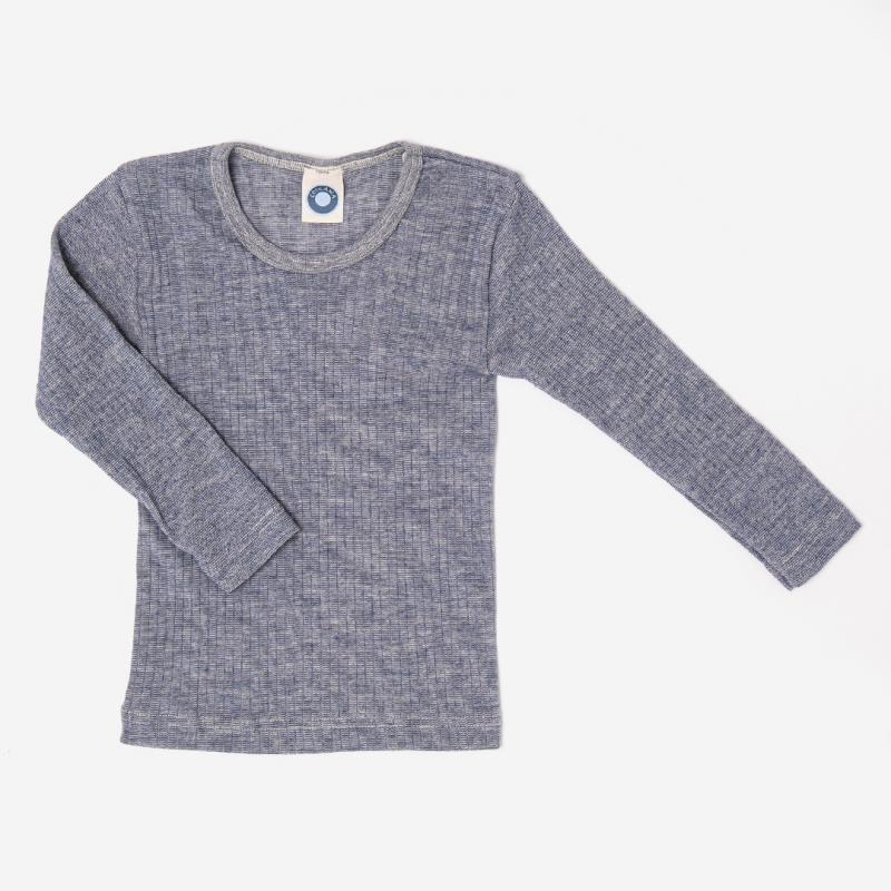 Kinder Unterhemd langarm von Cosilana aus Baumwolle/Wolle/Seide in marine meliert 1