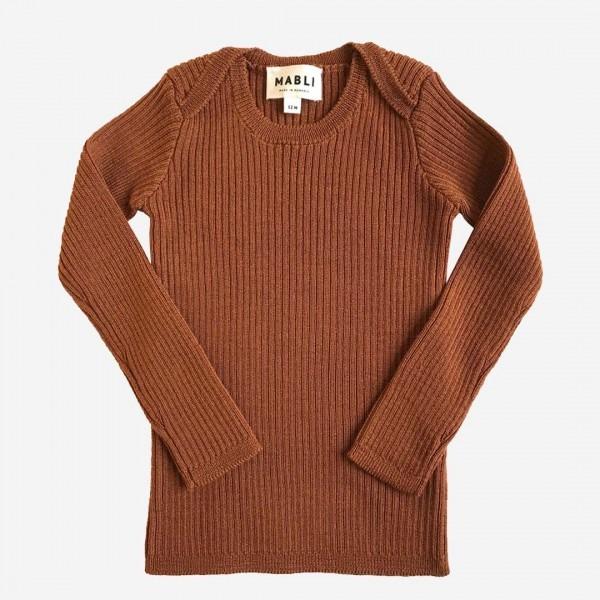 Pullover Skinny Rib Merinowolle cinnamon