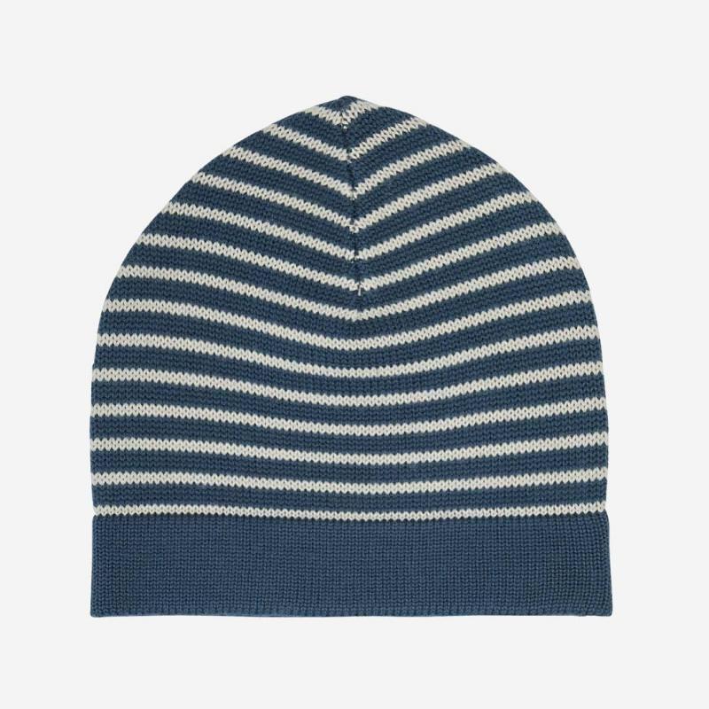 Mütze striped Wolle petrol/ecru