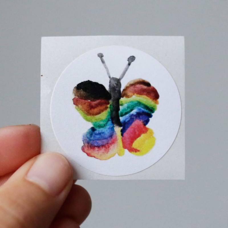 Aufkleber Regenbogen Schmetterling