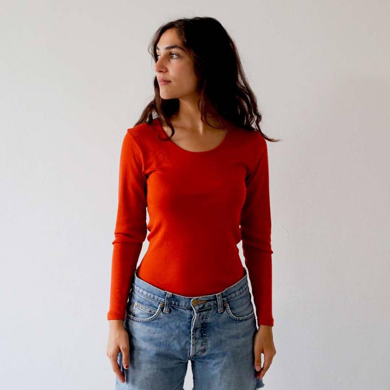 Unterhemd Rundhals Wolle/Seide teracotta