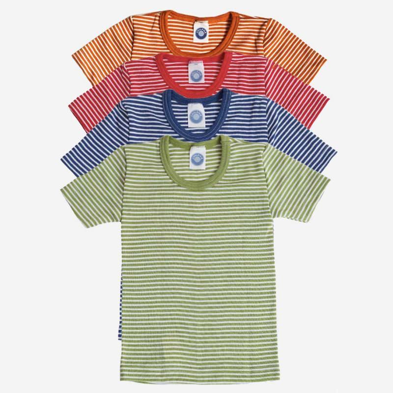 Unterhemd kurzarm Ringel Wolle/Seide