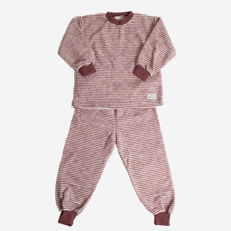 Schlafanzug 2-tlg Wollfrottee-Plüsch beere Ringel