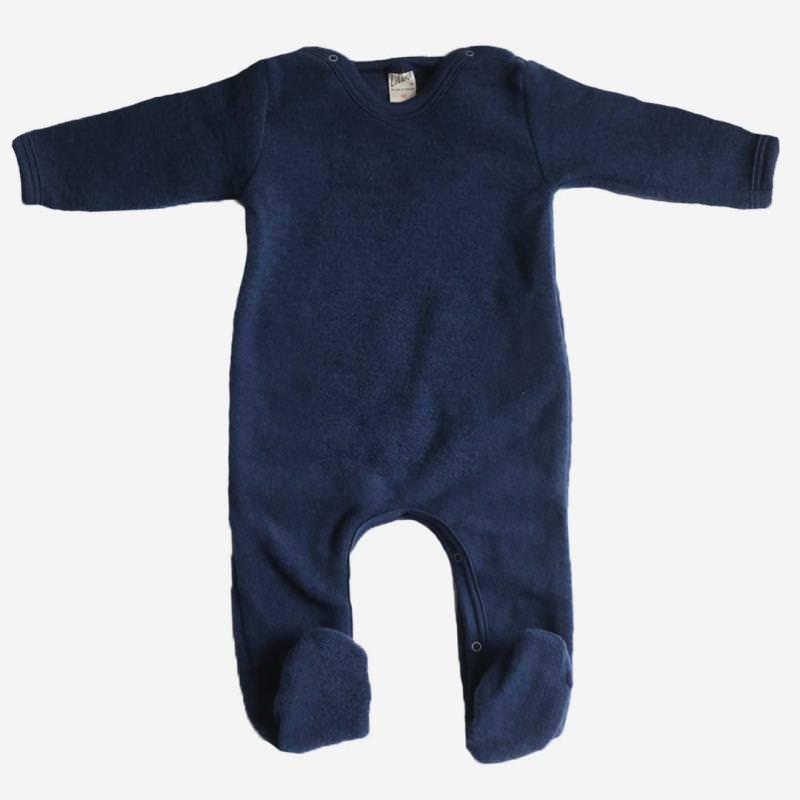 Strampelanzug Uni mit Fuß Wollfrottee marineblau