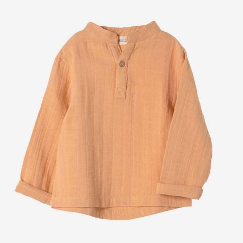 Kinder Musselin langarm Shirt Farbenspiel ochre aus Bio Baumwolle