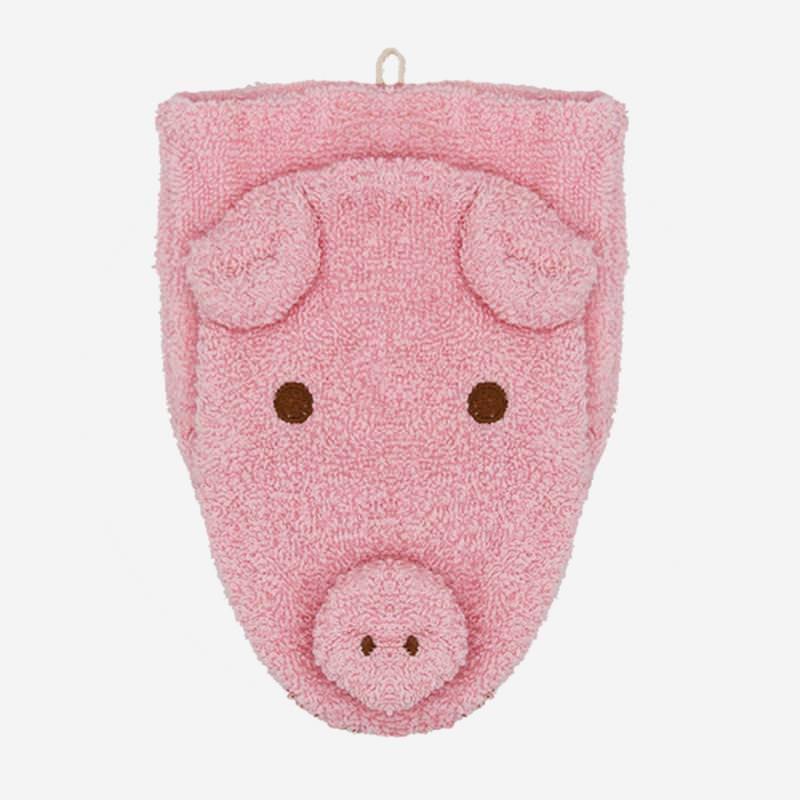 fuernis waschlappen wasch handschuh baumwolle tier schwein sophie rosa