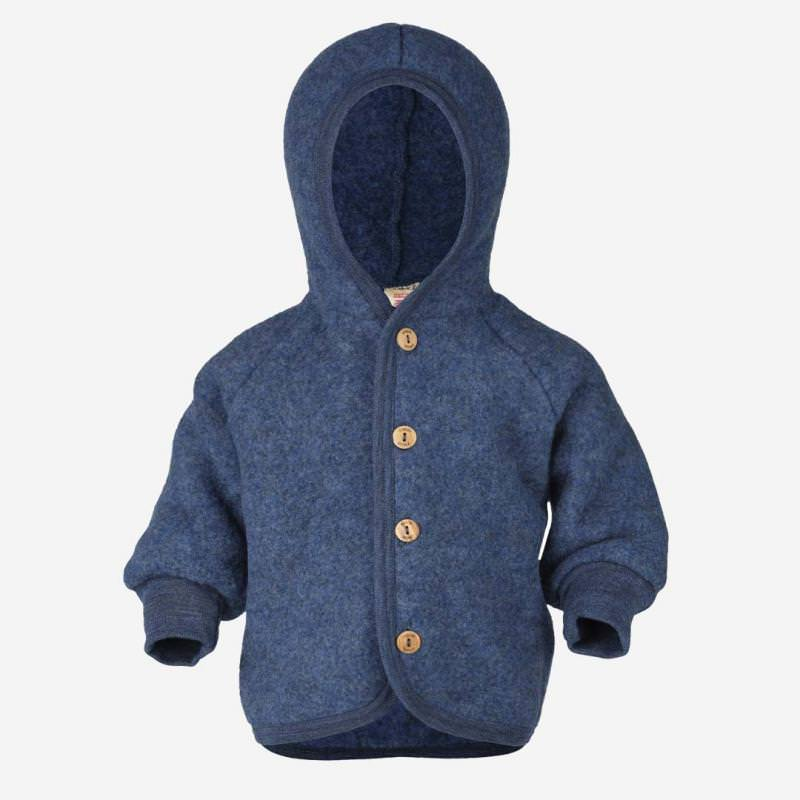 Baby Wollfleece Kapuzenjacke blau