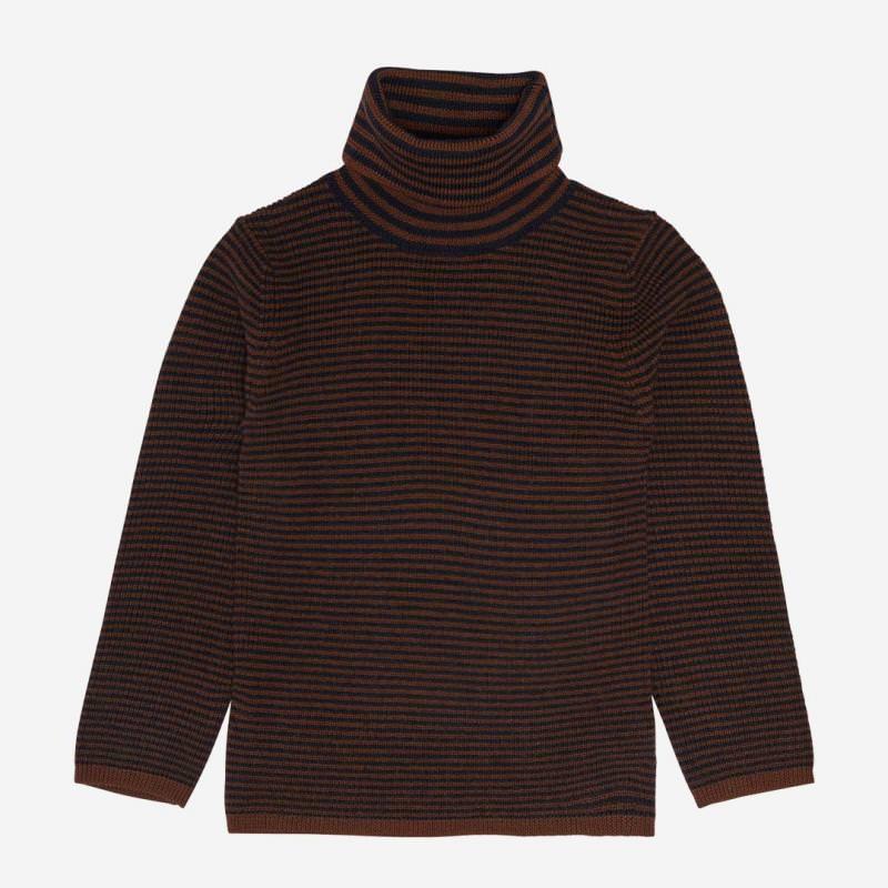 Rollkragen Pullover Wolle umber/dark navy