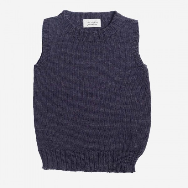 Pullunder Wolle blau melange