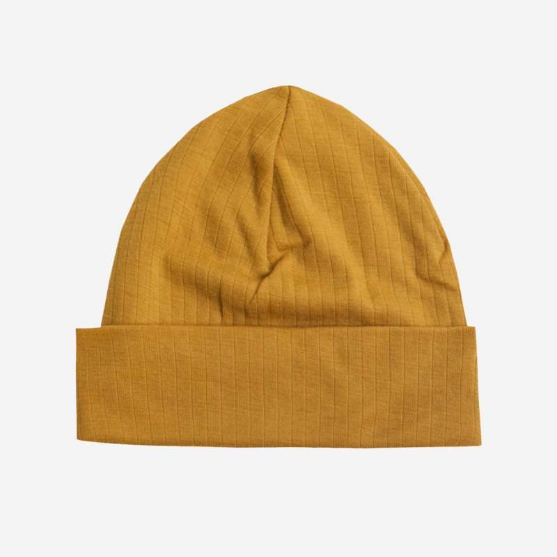 Mütze Merinowolle curry gelb