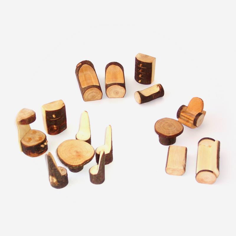 Möbelset aus Holz mit Rinde 14-teilig von Decor Puppen stube