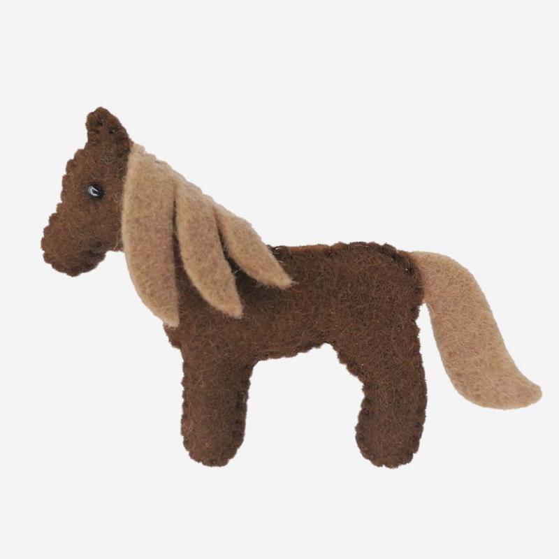Kleine Filz Freunde braunes Pferd