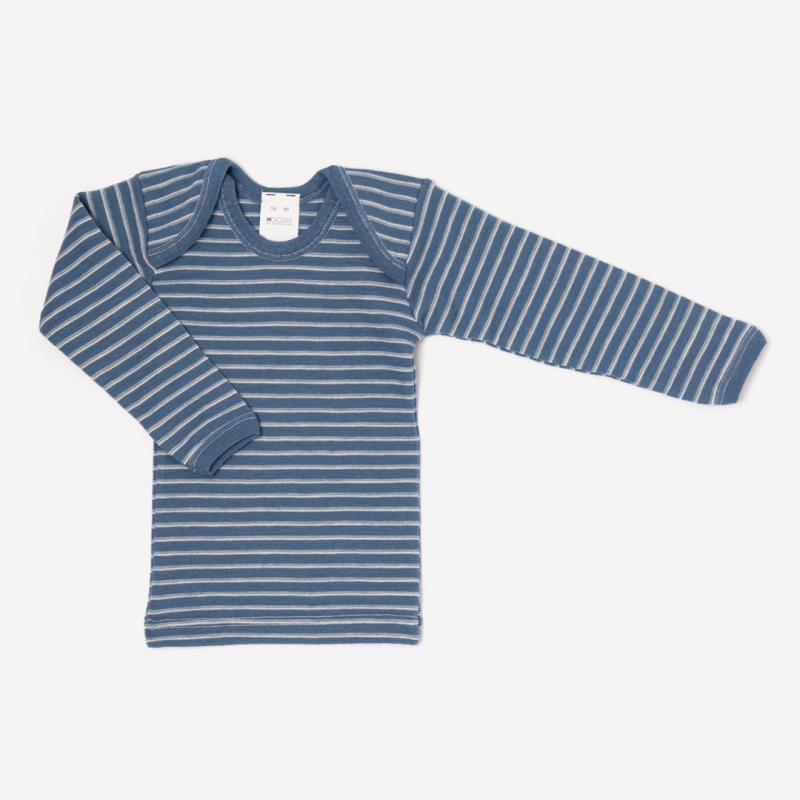 Schlupfhemd Wolle Ringel blau angarm Shirt Schlupfkragen 1 Hocosa