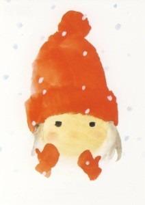Mit roter Wollmütze