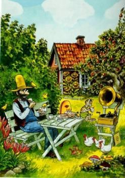 Postkarte Findus und Petterson Pfannkuchentorte im Garten