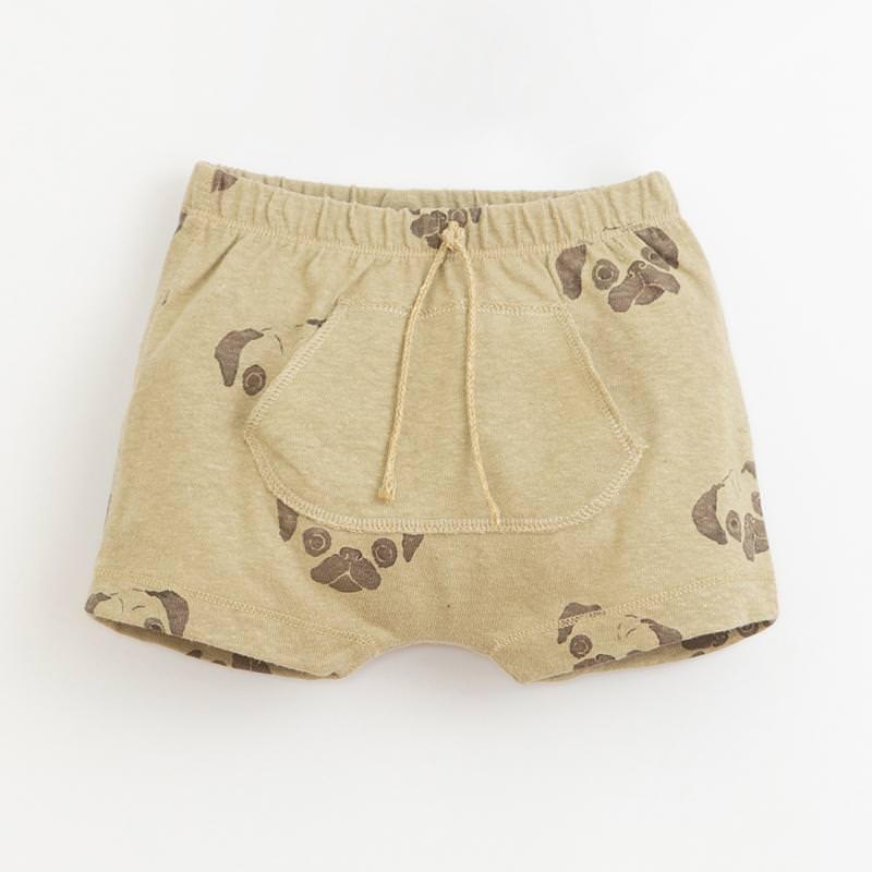 Shorts Leinen Jersey Möpse hellbraun