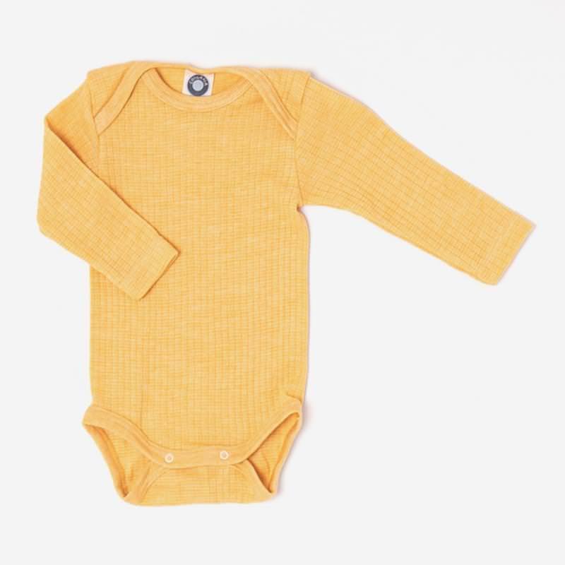 Baby Body von Cosilana aus Baumwolle/Wolle/Seide in gelb meliert 1