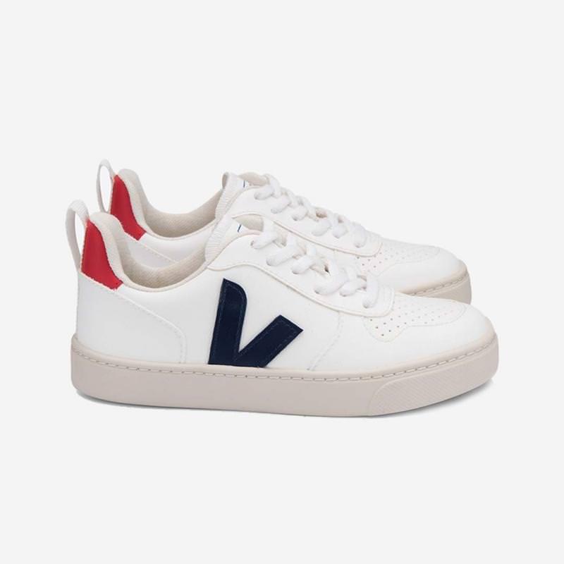 Sneaker V-10 white cobalt pekin