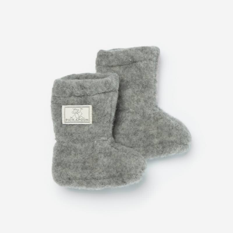 Baby-Stiefel Wollfleece grau