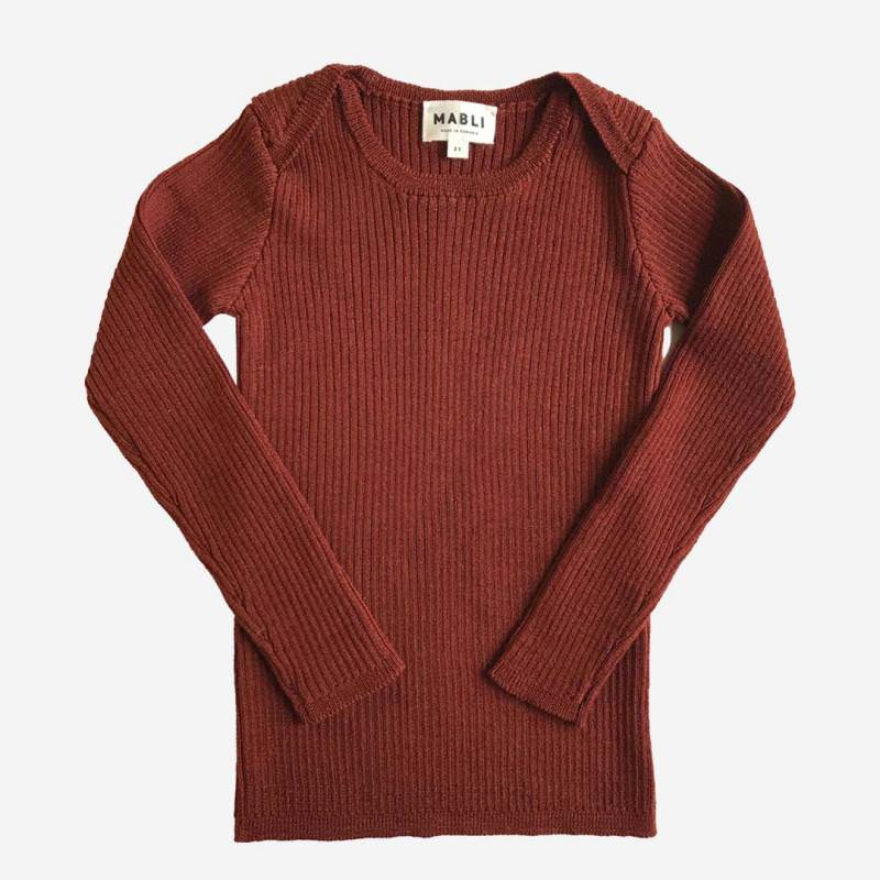 Pullover Skinny Rib Merinowolle redwood