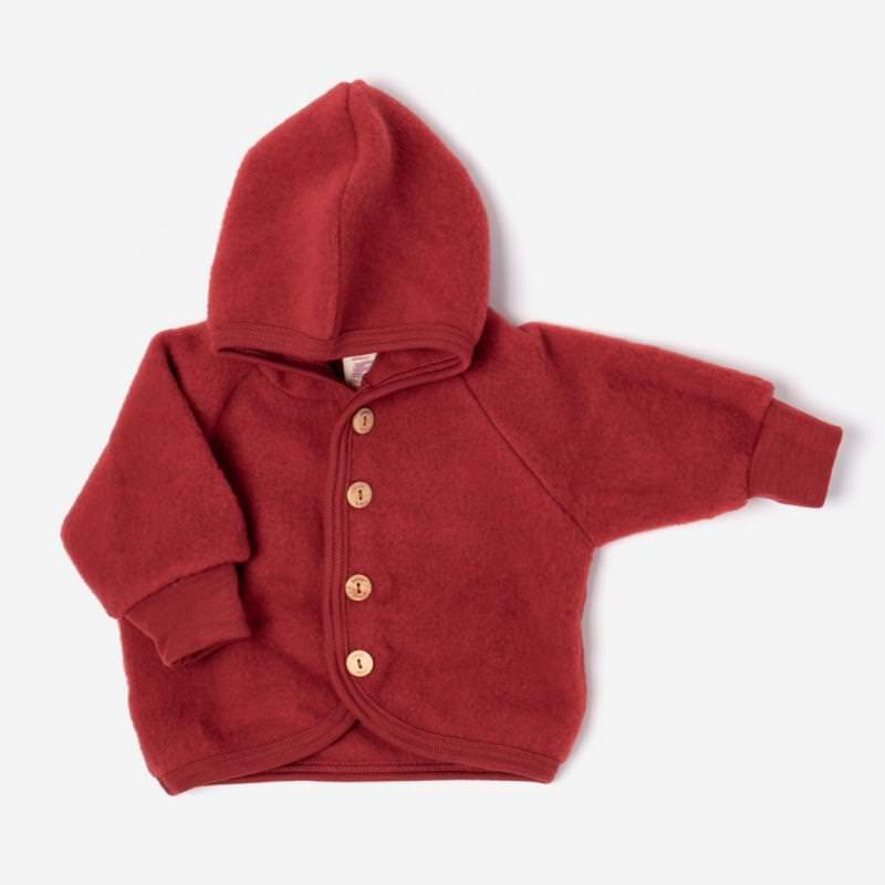 Baby Wollfleece Kapuzenjacke rot