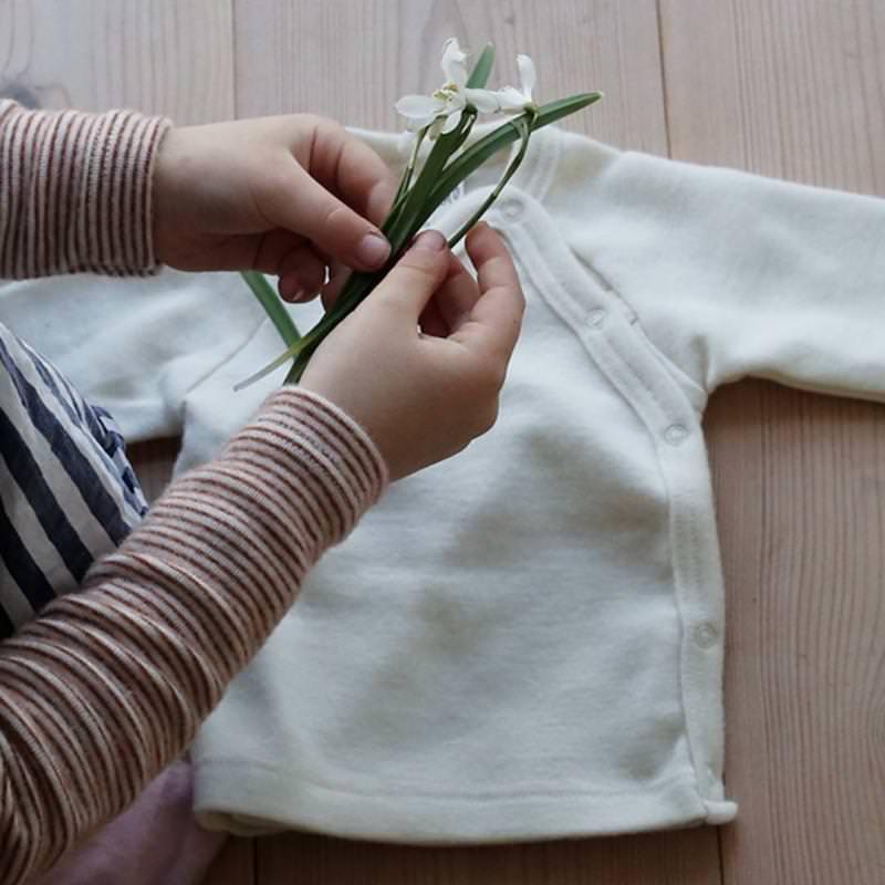 Shirt Druckknopfleiste Wolle/Seide natur