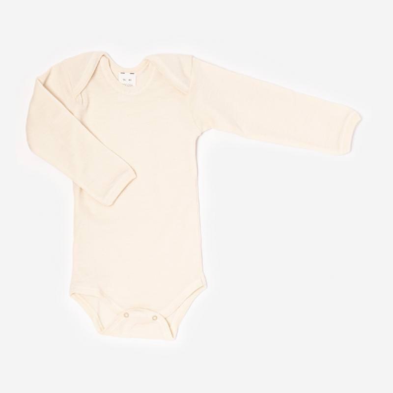 Baby Body langarm von Hocosa aus Wolle in natur weiss 1
