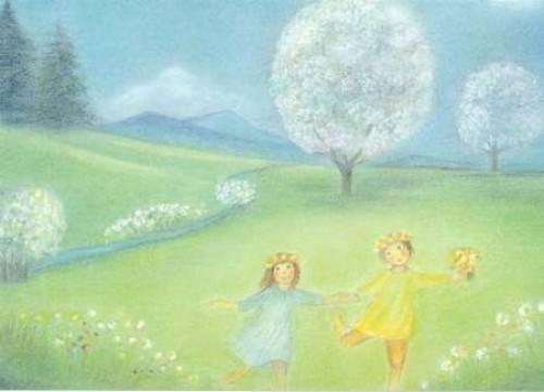 Postkarte Blütenbäume (Elsässer)