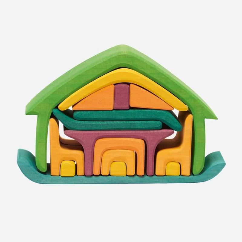 Möbel-Haus grün/lila