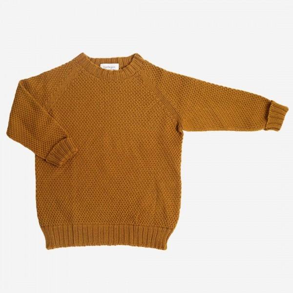 Pullover Strickmuster Wolle ocker
