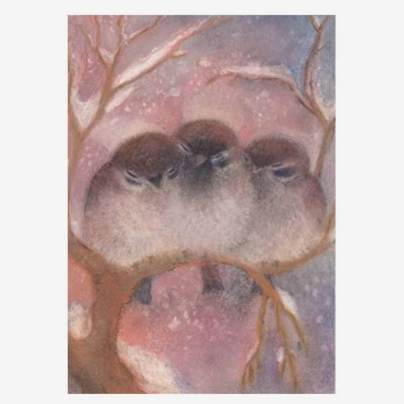 Postkarte Drei Spatzen