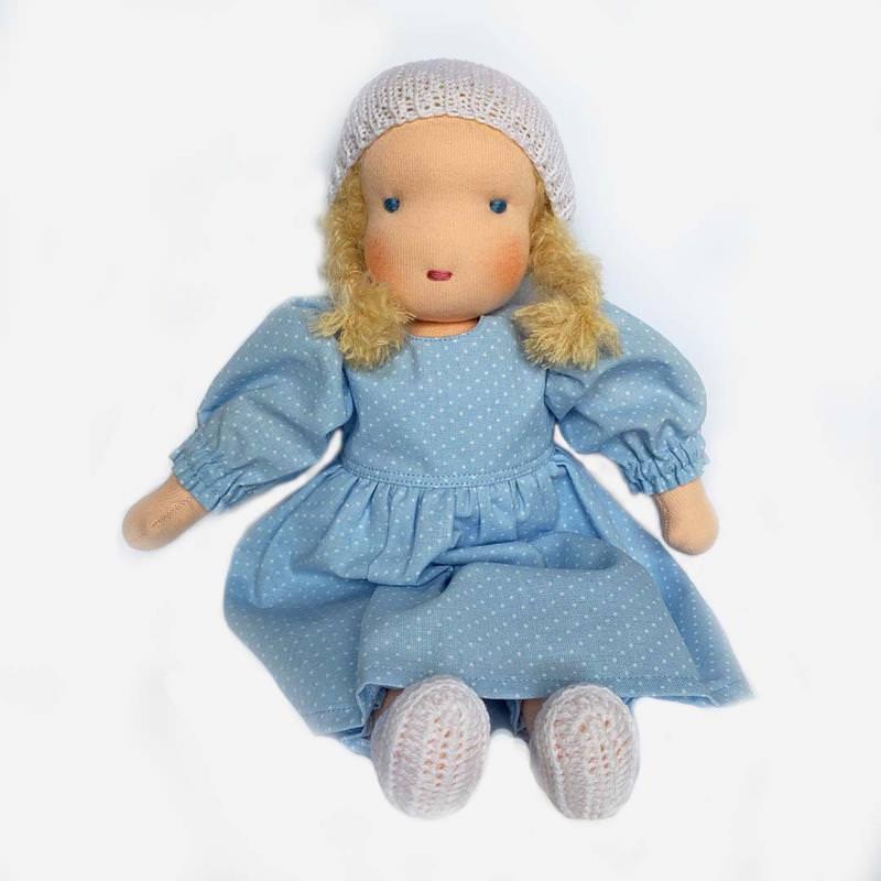 Puppen Mädchen nach Waldorfart groß blondes Haar