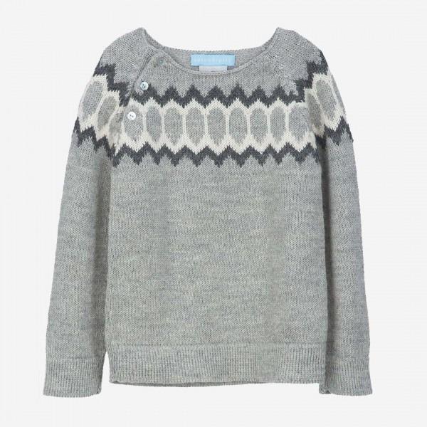 Pullover Alpaca Raglan Lightgrey, handknittet