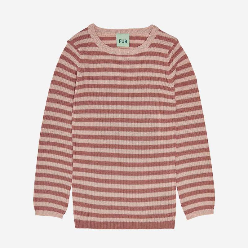 Rib Pullover Wolle coral/pale pink