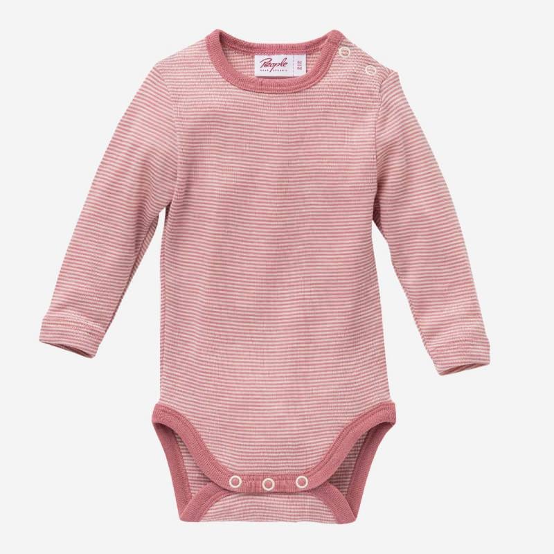 Baby Body Wolle/Seide von People Wear Organic in rosé geringelt