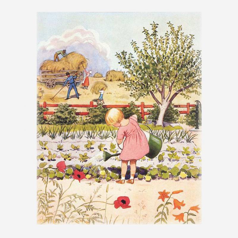"""Postkarte """"Mädchen bei der Gartenarbeit"""" von Elsa Beskow"""