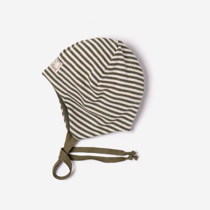 Mütze Radler Ringel Wolle/Seide oliv/natur