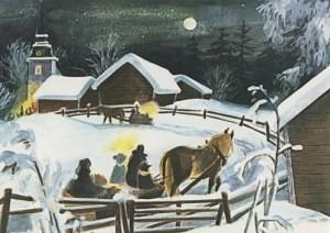 Postkarte Weihnachten in Bullerbü - Kutschfahrt