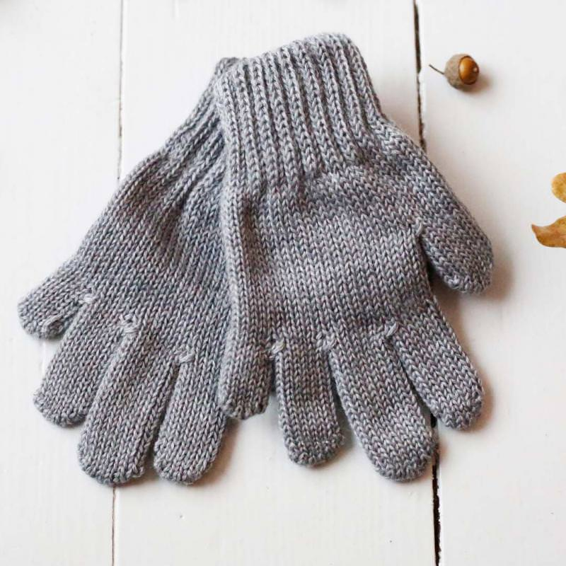 Finger Handschuhe Merinowolle grau