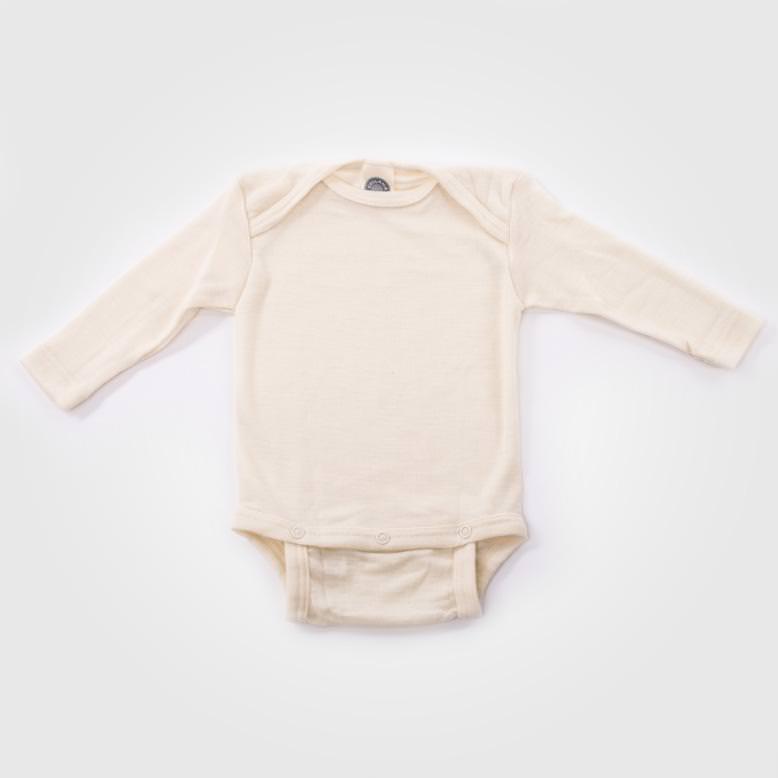 Wollbody aus 70/% kbT-Wolle 30/% Seide Cosilana Kurzarm Baby-Body