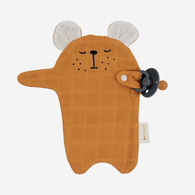 Schnullerband Cuddle Bear ochre