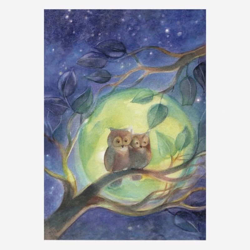 Eulen im Mondschein (M. Viriot)