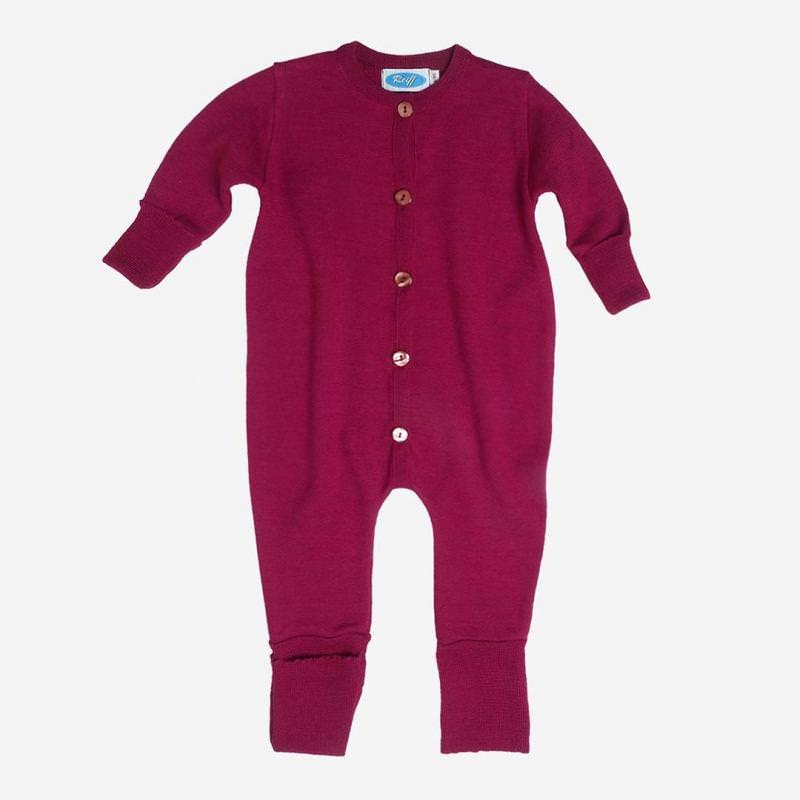 Overall Schlafanzug Wolle/Seide beere