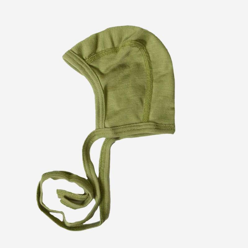 Baby Häubchen Uni Wolle/Seide grün