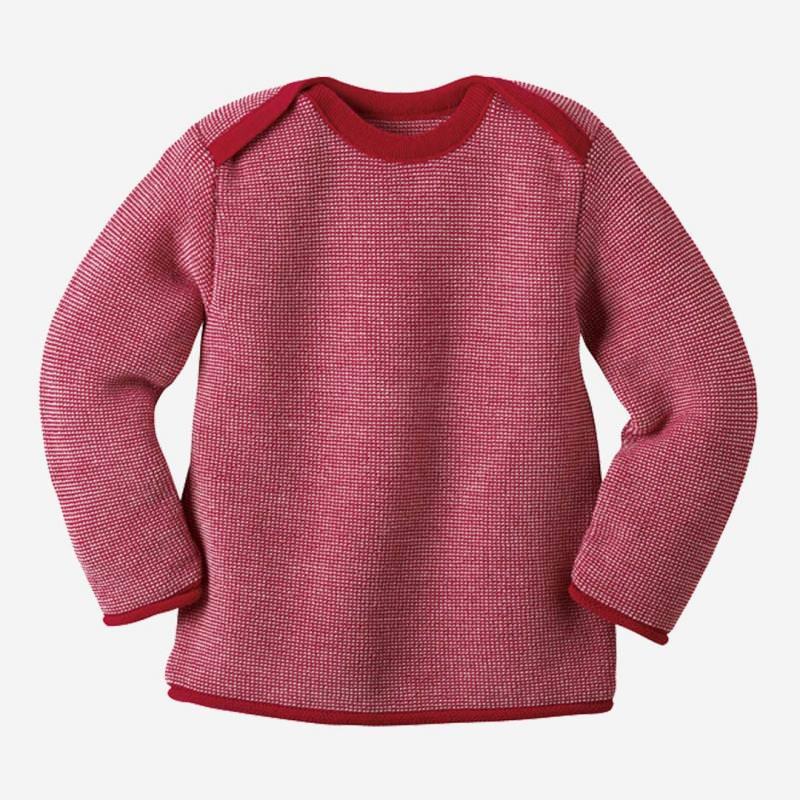 Melange-Pullover Wolle rot-rose