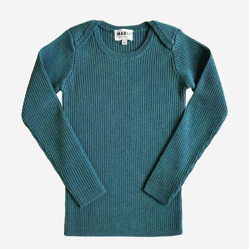 Pullover Skinny Rib Merinowolle agate green