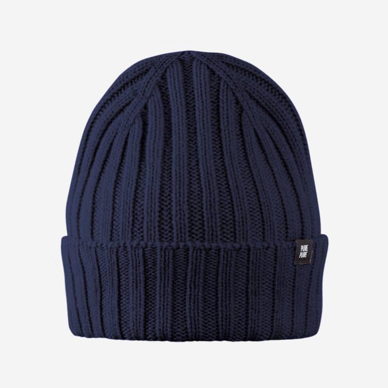 Kinder Mütze Wolle in marine blau