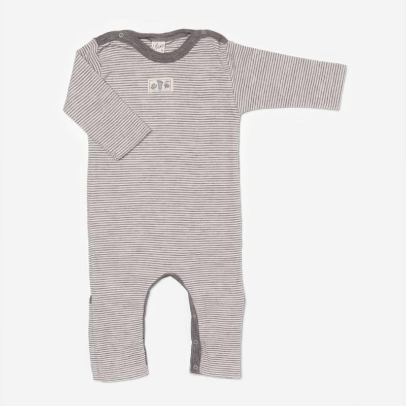 Anzug mit Beinumschlag Wolle/Seide Ringel grau