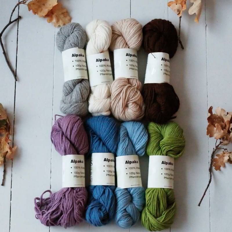 Strickwolle Alpaka pflanzengefärbt